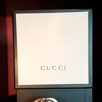 Gucci Men's GG Buckle Brown Classic Leather Belt 50 inch. Boxed 100% Genuine.