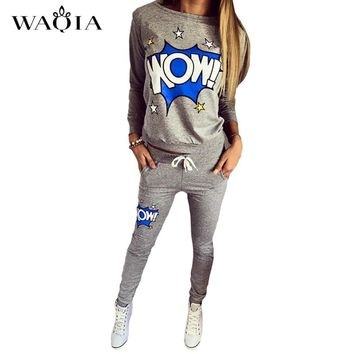 2017 Hot Selling Women Casual Sportswear Lovely Printed Hoodies long-sleeved Suit Kawayi Tenue Femme Sportswear two piece set
