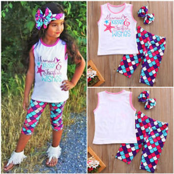 Toddler Kid Girl Little Mermaid Vest Tank Tops T Shirt Cropped Pants Outfits Set