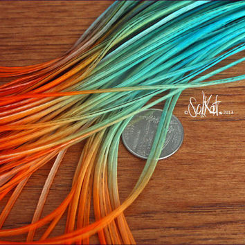 Blue Orange Feather Extensions Hair Long Feathers Extension Color Block Turquoise Orange Feather Extensions 5 Feather Accessories
