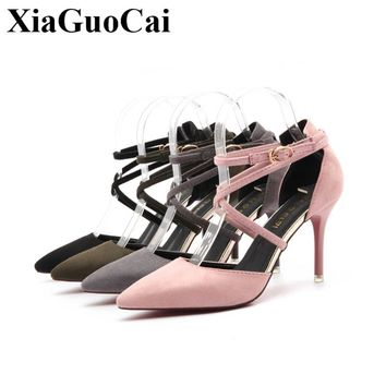 New Sexy Pointed Toe Stiletto Heel Pumps Women's Shoes Flock Ankle Strap Red Bottom High Heels OL Pumps Sandals  H291 35