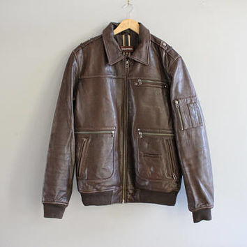 Genuine Dark Brown Leather Bomber Jacket Quilted Soft Leather Jacket Vintage Size M #O152A