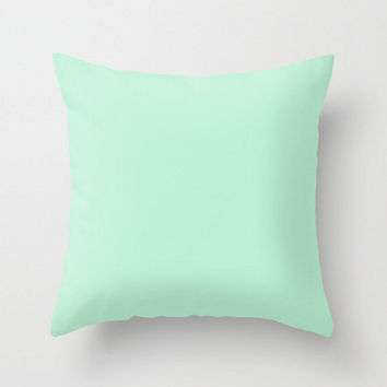 Mint Ice Pillow Cover Solid Light Green Seafoam Pastel  Pillow Case 16x16 18x18 20x20 Square Nursery Baby Child's Apartment Home Room Decor