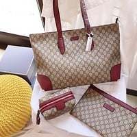 GUCCI GG Shopping Bag Tote Flat Pouch Wallet Three-piece Set