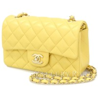 CHANEL Chain Shoulder Bag Matelasse Lambskin Yellow France Authentic 4528340