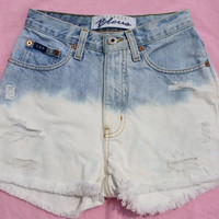 Vintage High Waisted Express Dip Dyed Bleached Shorts