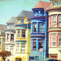 "San Francisco Photography - bright bold rainbow colors - travel photography yellow blue house home city photography ""Colorful Houses"""