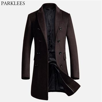 Men's Long Trench Coat Winter Men Wool Coat Slim Fit Cashmere Overcoat Jackets Man Double Breasted Peacoat Abrigo Hombre