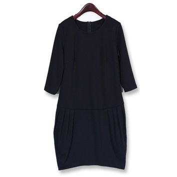 Women Autumn Ladies Elegant Long Sleeve Mini Dress Long Top  Casual Style Plus Size = 1667672580