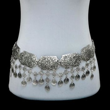 Vintage Silver Plated Waist Chain Turkish Gypsy Alloy Coin