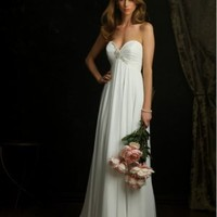 Crepe Chiffon Column Sweetheart Sleeveless Wedding Dress - Basadress.com