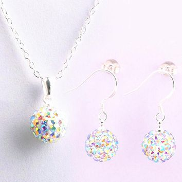 Brand Female Jewelry Set Women's Fashion Ab White Crystal 10mm Ball Drop Earrings Necklace Pendant Shamballa Set Silver Color