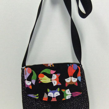 Small Messenger Bag - made by me with colorful  fox fabric - crossover purse