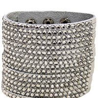 Sparkling Stud Tower Bangle in White – bandbcouture.com