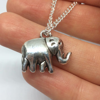 16 inch Sterling Silver Plated Elephant Charm Layering Necklace