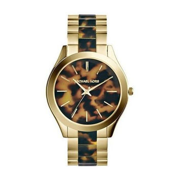 MICHAEL KORS SLIM RUNWAY TORTOISE STAINLESS STEEL WOMEN'S WATCH MK4284