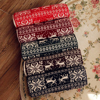 Korean Knit Christmas Double Sided Scarf(Size:200*40 cm) [9600583247]