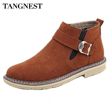 Tangnest NEW Autumn Winter Chelsea Boots For Men Casual Suede Leather Ankle Boots Warn Fur Inside Rubber Boot Cowboy Shoes