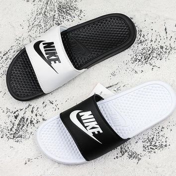 Nike Benassi Swoosh Black White Slide Sandal Slipper - Best Deal Online