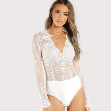 SCALLOPED EMBROIDERED MESH BODYSUIT