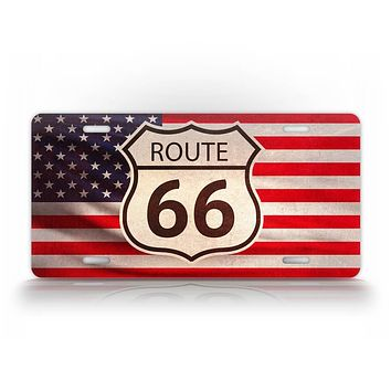 Route 66 Sign On An American Flag License Plate