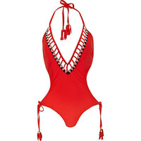 Red embellished monokini swimsuit