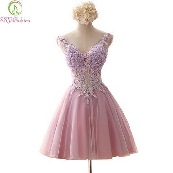 SSYFashion Rose Pink Fairy Short Evening Dresses Fairy V Neck Baeding Crystal Embroidery Backless Ball Gown Organza Formal Dress