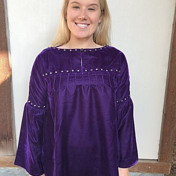 Roja Collection Traditions Peasant Top ~ Purple/Silver Velvet