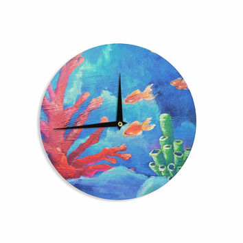 "Carol Schiff ""Key Largo"" Blue Coral Painting Wall Clock"