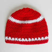 Infant  Red Hat With White Stripes  Baby  Girl  Christmas Cap Boy   Winter Valentines  Beanie 6 To 12  Months  Gender Neutral Fall Skullcap