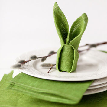 Green Linen napkins - Easter napkin cloths - Spring table decorations