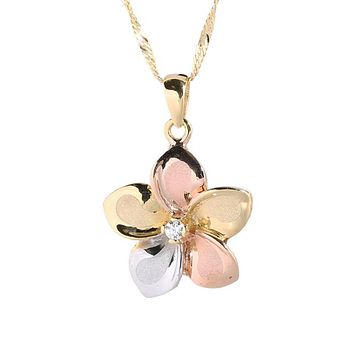 Hawaiian Jewelry 14K Yellow Gold Tri-color Plumeria with CZ Pendant