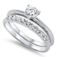 Sterling Silver CZ .50 carat Brilliant Round Cut Solitaire Wedding Ring Set 5-10