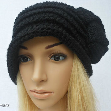 Chunky Crochet Flapper Cloche Beanie Brimmed Hat 192O Womens Ladies Teens  Elegant Black Merino Wool Vintage Romantic Style