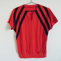 SALE Vtg 70's 80's Red and Black Raglan Stripe Shirt Top by sssggg