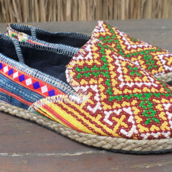 Vegan Womens Espadrilles Hmong Embroidered Loafers Summer Shoes