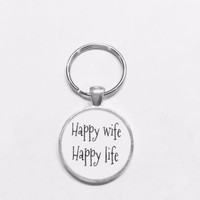 Happy Wife Happy Life Husband Gift Keychain