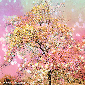 Nature Photography, Dreamy Pink Cottage Shabby Chic Photo, Pink Yellow Fantasy Tree Nature Photo, Child Baby Nursery Pink Yellow Trees Photo