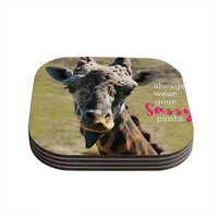 "Robin Dickinson ""Sassy Pants"" Brown Green Coasters (Set of 4)"