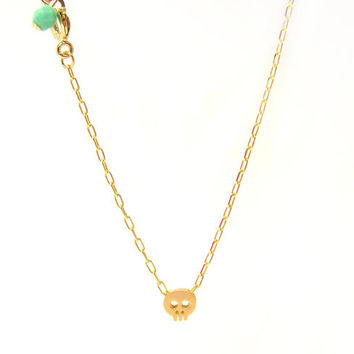 Tiny Skull Necklace  Matt 14k Gold Plated Skull Charm by minifabo