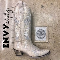 Corral Ladies White Floral Embroidery & Crystals Wedding Boots