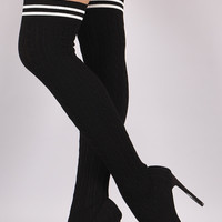 Liliana Stretched Sweater Knit Stiletto Over-The-Knee Sock Boots in Olive