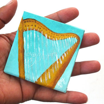 Harp Art Magnet, 3x3 inch acrylic canvas painting, magnet for home or office