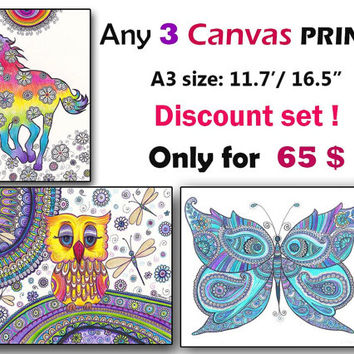 Set Of Any three 3 CANVAS PRINTS A3 size, Children Nursery Room Wall Decor, Kids Room Wall Art Print Set Fantasy Folk Art, Zentangle Mandala