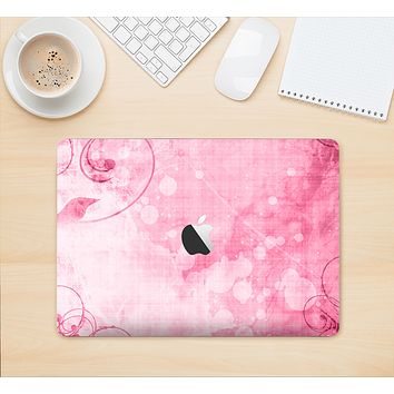 """The Grungy Pink Painted Swirl Pattern Skin Kit for the 12"""" Apple MacBook"""