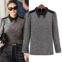 Grey Pointed Flat Long-sleeve Knit Shirt