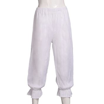 Medieval Pants Women Steampunk Bloomers White Victorian Pantaloons Ladies Renaissance Underpants Costume
