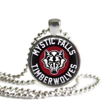 The Vampire Diaries Mystic Falls Timberwolves 1 Inch Silver Plated Pendant Necklace Handmade