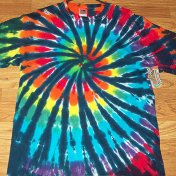 S M L XL Tie Dye Shirt, Adult, Rainbow Tiger Spiral
