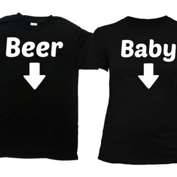Matching Couple Shirts Expecting Parents To Be Pregnancy Announcement Maternity T Shirt Expectant Mother Dad To Be Gift Beer Baby -SA740-741
